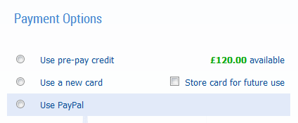 Select to use credit when you place an order